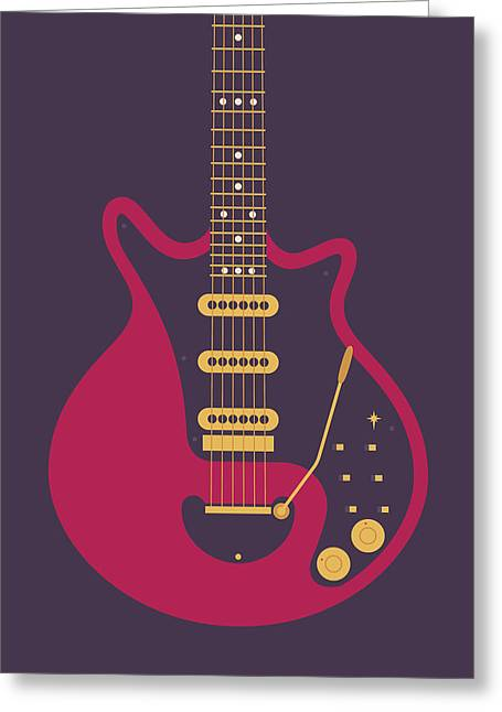 Red Special Guitar - Black Greeting Card