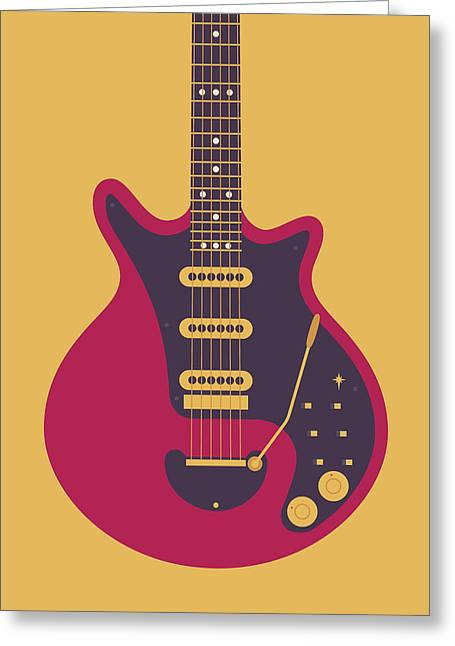 Red Special Guitar - Gold Greeting Card