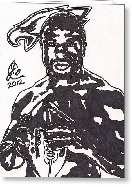 Greeting Card featuring the drawing Brian Westbrook by Jeremiah Colley