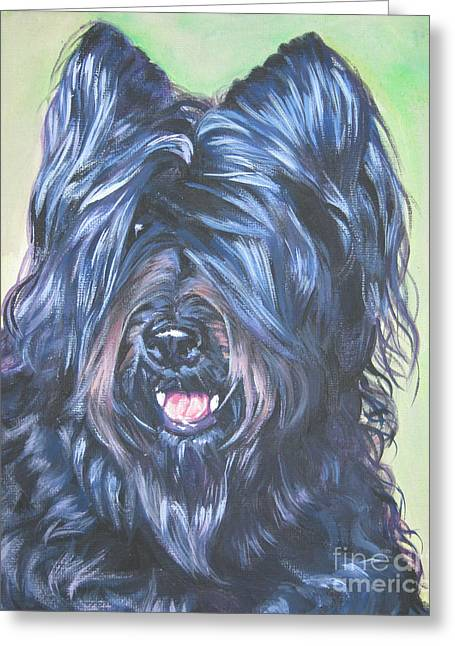 Briard With Cropped Ears Greeting Card by Lee Ann Shepard