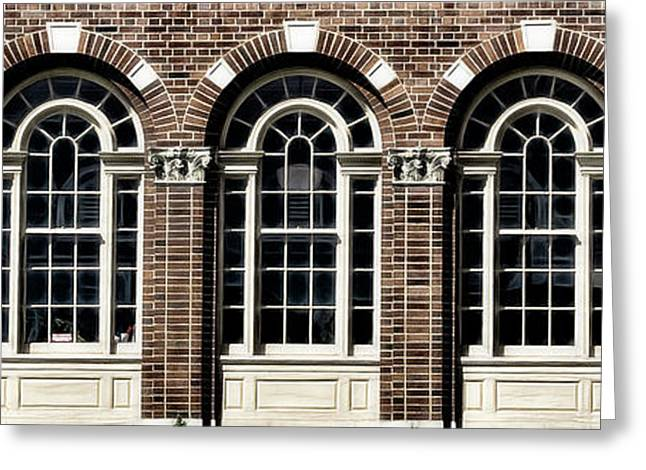 Greeting Card featuring the photograph Brick Arch Windows by Brad Allen Fine Art