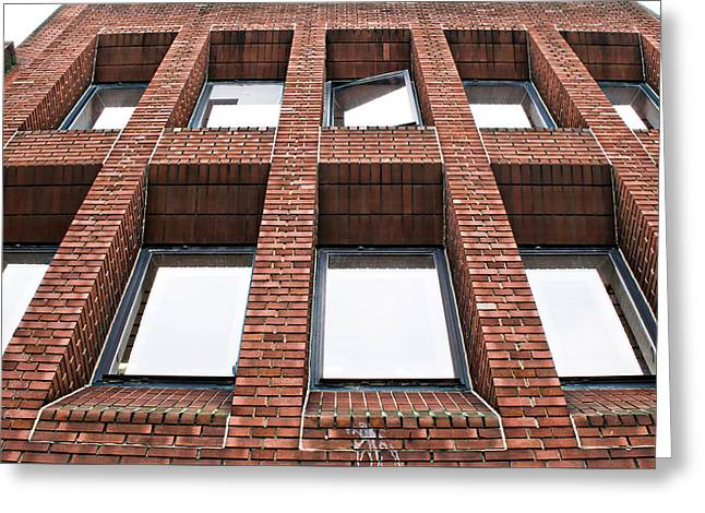 Brick Building Greeting Card by Tom Gowanlock