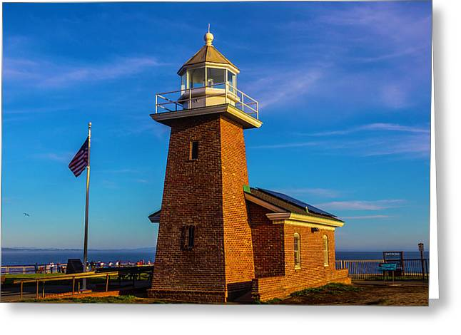 Brick Lighthouse At Point Pinos Greeting Card