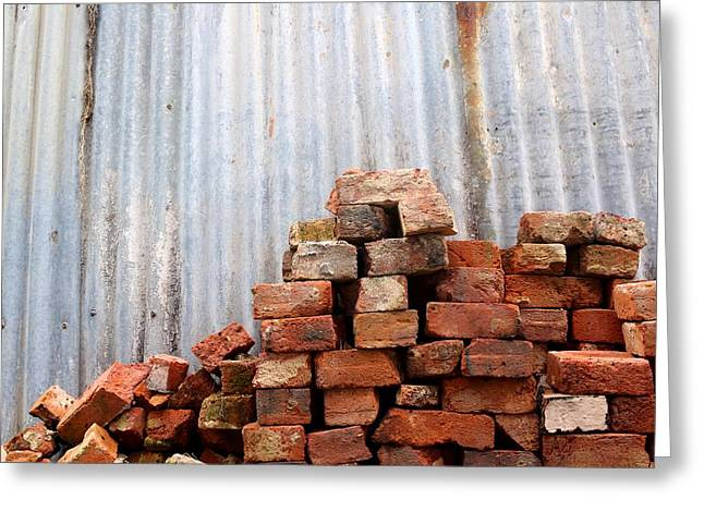 Greeting Card featuring the photograph Brick Piled by Stephen Mitchell