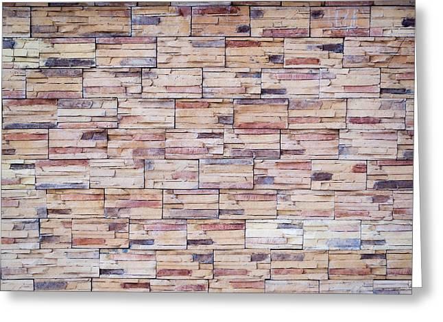 Brick Tiled Wall Greeting Card by John Williams