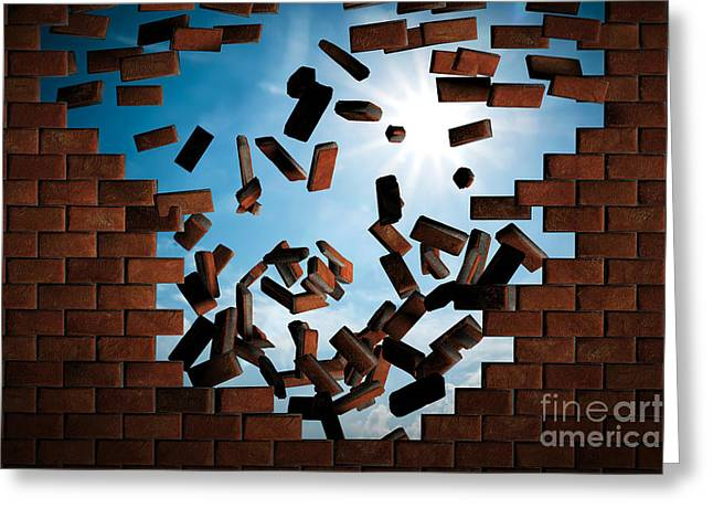 Brick Wall Falling Down Making A Hole To Sunny Sky Outside Greeting Card