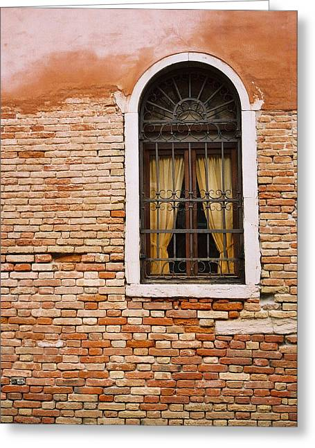 Brick Window Greeting Card by Kathy Schumann