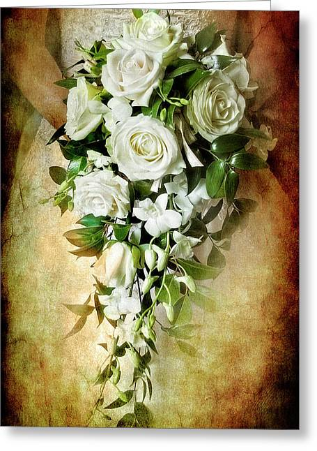 White Roses Greeting Cards - Bridal Bouquet Greeting Card by Meirion Matthias