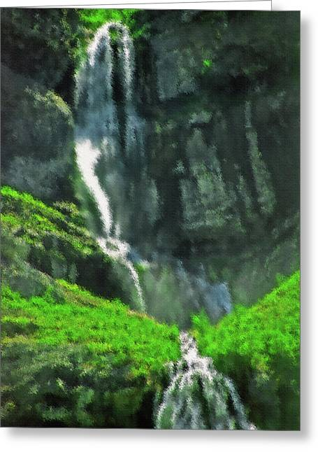 Bridal Veil Falls Canvas 1 Greeting Card by Steve Ohlsen