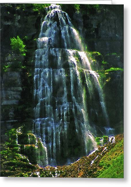 Bridal Veil Falls Canvas 2 Greeting Card by Steve Ohlsen