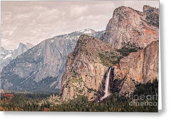 Bridal Veil Falls Flowing Nicely At Yosemite National Park - Sierra Nevada California Greeting Card by Silvio Ligutti