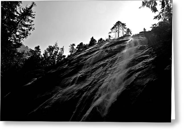Bridal Veil Falls In Black And White Greeting Card