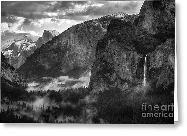 Bridalvail Falls And Half Dome Greeting Card