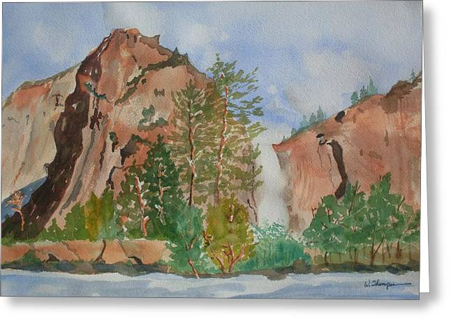 Bridalveil Fall At Yosemite  Greeting Card by Warren Thompson