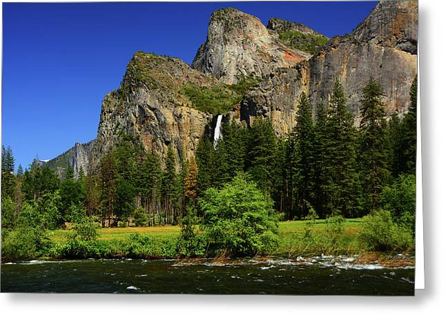 Bridalveil Falls From Gates Of The Valley Greeting Card by Raymond Salani III
