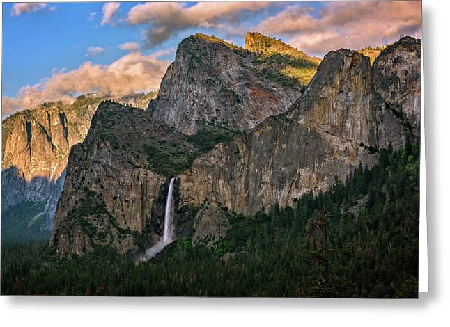 Bridalveil Falls From Tunnel View Greeting Card