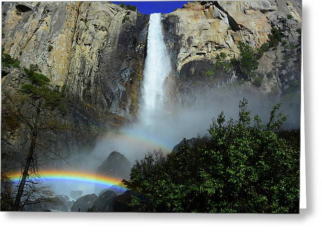 Bridalveil Falls Rainbows Greeting Card by Raymond Salani III