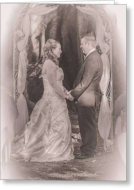 Bride And Groom Exchanging Vows On At Alter Greeting Card