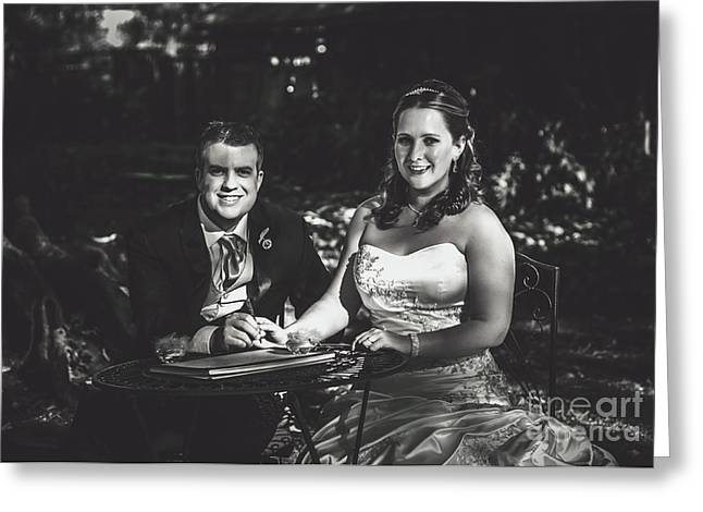 Bride And Groom Signing Marriage Certificate Greeting Card by Jorgo Photography - Wall Art Gallery