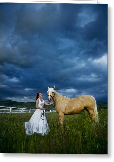 Bride And Horse With Storm Greeting Card by Nick Sokoloff