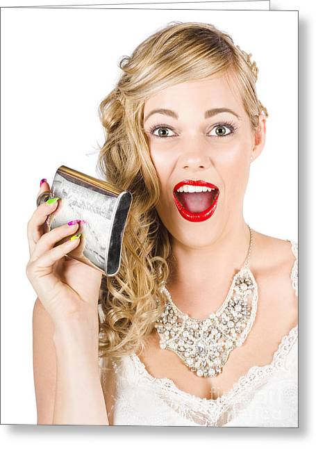 Bride Holding Alcohol Flask During Hens Night Out Greeting Card by Jorgo Photography - Wall Art Gallery