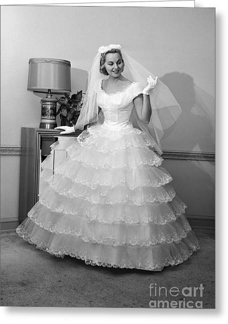 Bride In Gown And Veil, C.1950-60s Greeting Card by H. Armstrong Roberts/ClassicStock