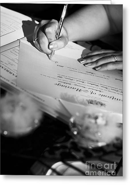 Bride Signing Name On Marriage Register Contract Greeting Card by Jorgo Photography - Wall Art Gallery