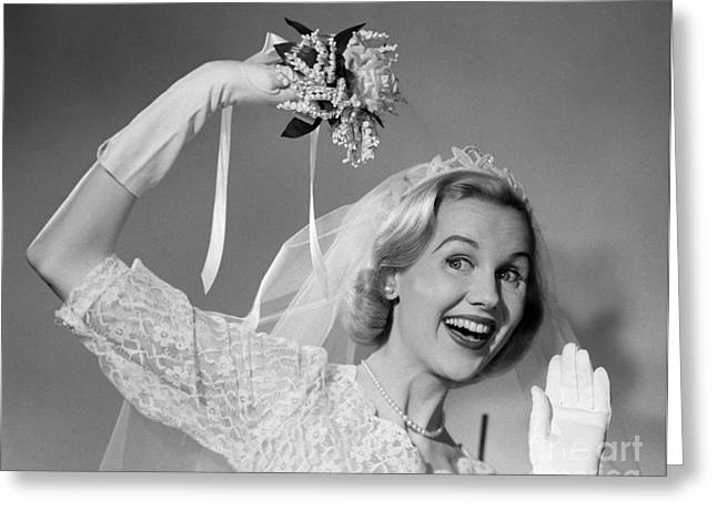 Bride Throwing Bouquet, C.1950s Greeting Card by Debrocke/ClassicStock