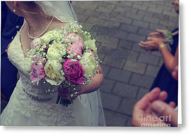 Bride With Wedding Bouquet Greeting Card by Patricia Hofmeester