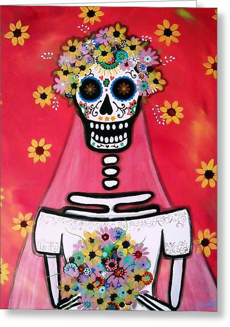 Greeting Card featuring the painting Bridezilla Dia De Los Muertos by Pristine Cartera Turkus