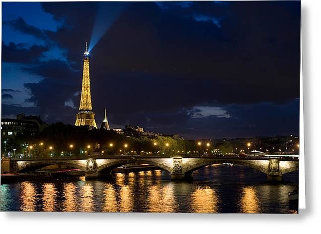 Bridge Across A River With A Tower Greeting Card by Panoramic Images