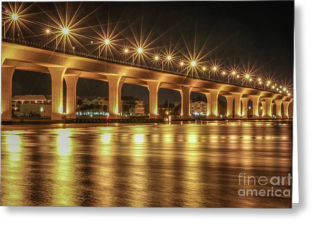Bridge And Golden Water Greeting Card by Tom Claud
