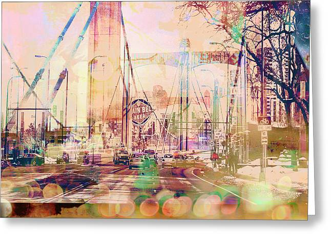 Greeting Card featuring the photograph Bridge And Grain Belt Beer Sign by Susan Stone