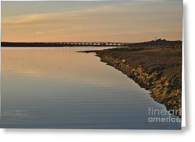 Bridge And Ria At Sunset In Quinta Do Lago Greeting Card