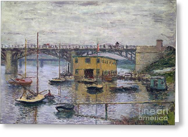 Bridge At Argenteuil On A Gray Day, 1876 Greeting Card