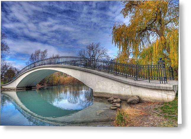 Bridge At Elizabeth Park Greeting Card by Rodney Campbell