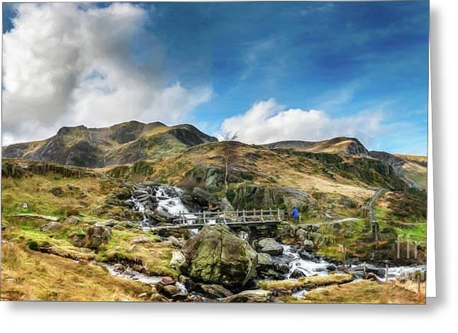 Bridge At Snowdonia Greeting Card by Adrian Evans