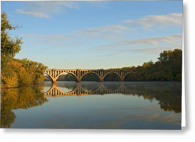Bridge At Sunrise Greeting Card by John Magor