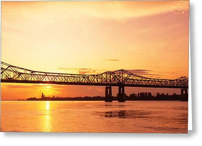 Bridge At Sunset, Natchez, Mississippi Greeting Card