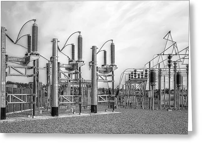 Volt Greeting Cards - Bridge Ave Power Substation - Spokane Washington Greeting Card by Daniel Hagerman