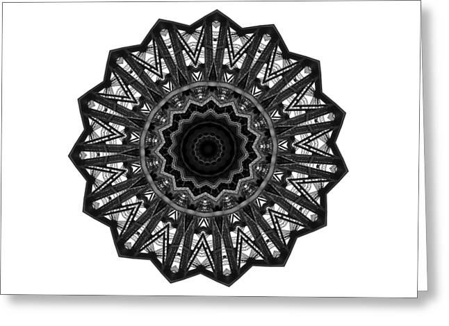 Bridge Construction Kaleidoscope By Kaye Menner Greeting Card