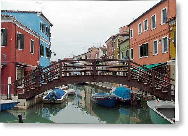 Resturant Art Greeting Cards - Bridge in Burano Italy Greeting Card by Mindy Newman