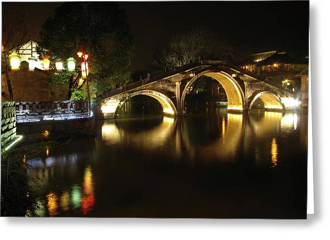 East China Greeting Cards - Bridge in Chinese Water Town Greeting Card by Andrew Soundarajan