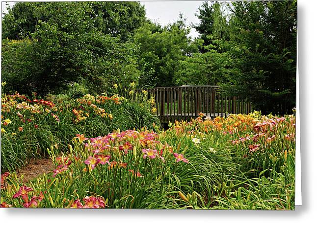 Greeting Card featuring the photograph Bridge In Daylily Garden by Sandy Keeton