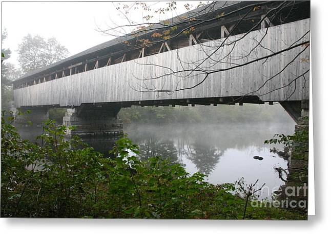Greeting Card featuring the photograph Bridge In The Fog by David Bishop