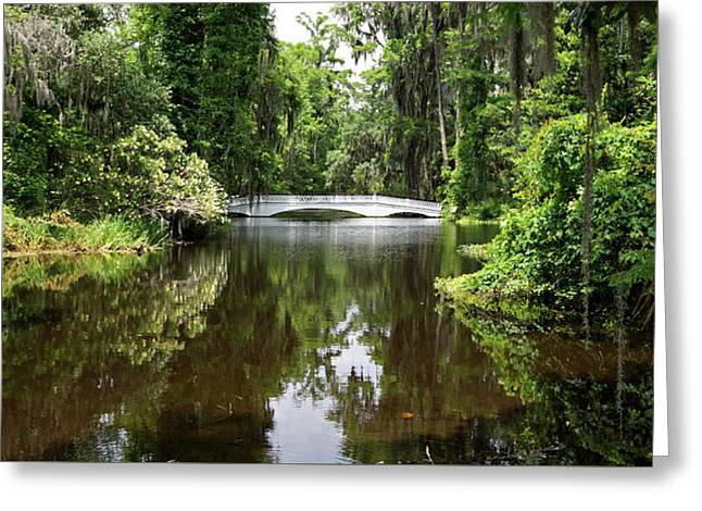 Greeting Card featuring the photograph Bridge In The Garden by Sandy Keeton