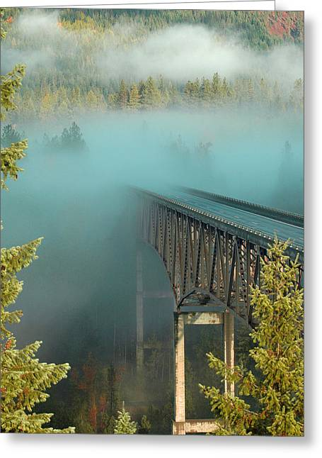 Bridge In The Mist Greeting Card by Annie Pflueger