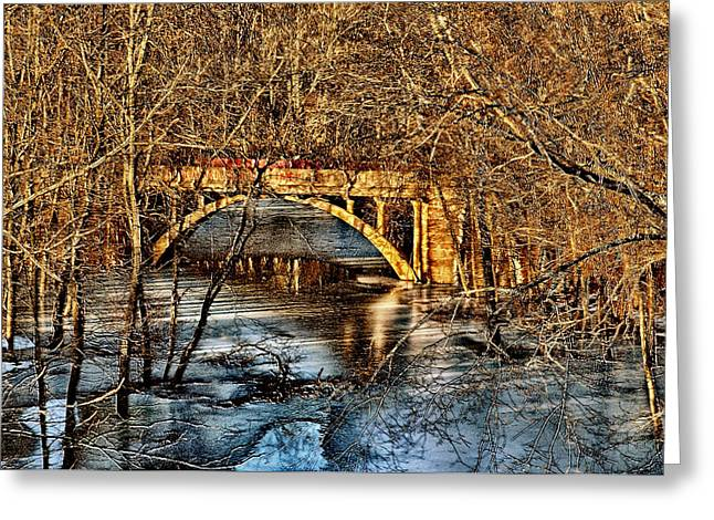 Bridge In The Woods Greeting Card by Ross Powell