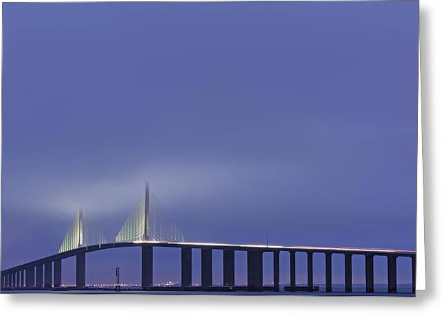 Bridge In Twilight Greeting Card by Jon Glaser