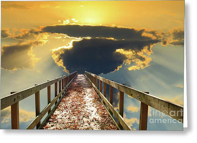 Bridge Into Sunset Greeting Card by Inspirational Photo Creations Audrey Woods